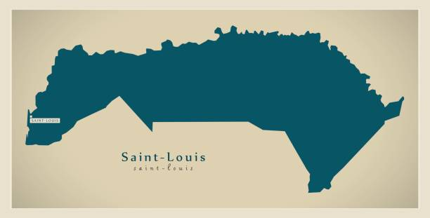 modern map - saint-louis sn - st louis stock illustrations