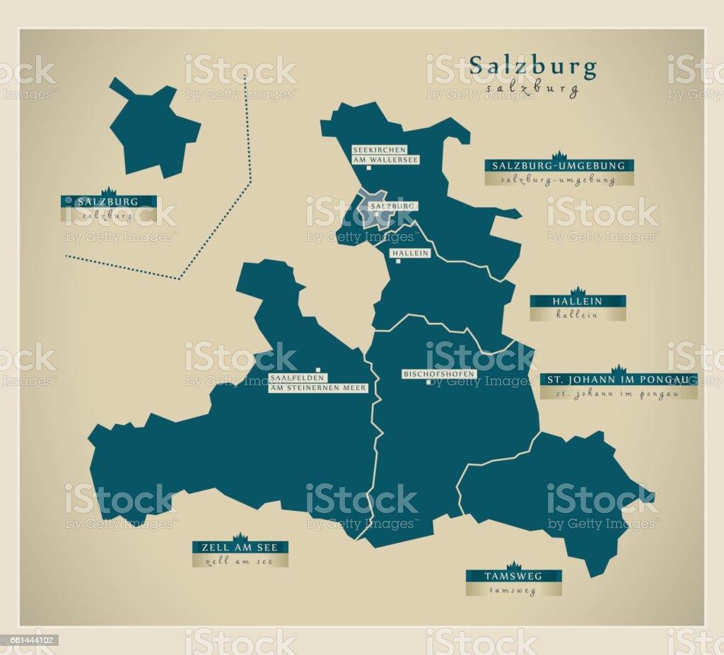 Moderna karta - Salzburg Österrike på - Royaltyfri Berömd plats vektorgrafik