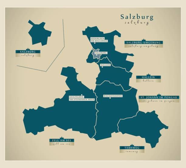bildbanksillustrationer, clip art samt tecknat material och ikoner med moderna karta - salzburg österrike på - salzburg
