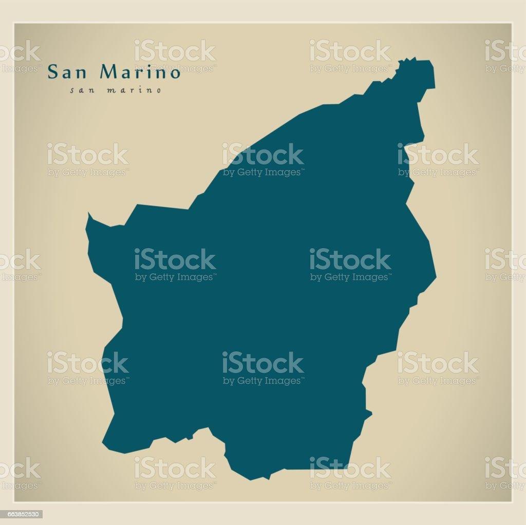 Modern Map - San Marino SM vector art illustration