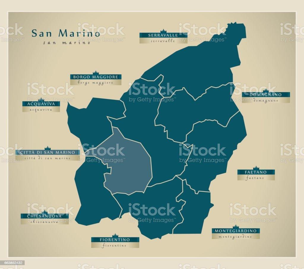 Modern Map San Marino With Municipalities Sm Stock Vector Art