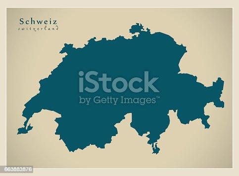 istock Modern Map - Schweiz CH 663883876