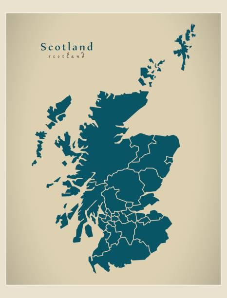 Modern Map - Scotland with regions UK Modern Map - Scotland with regions UK alba stock illustrations