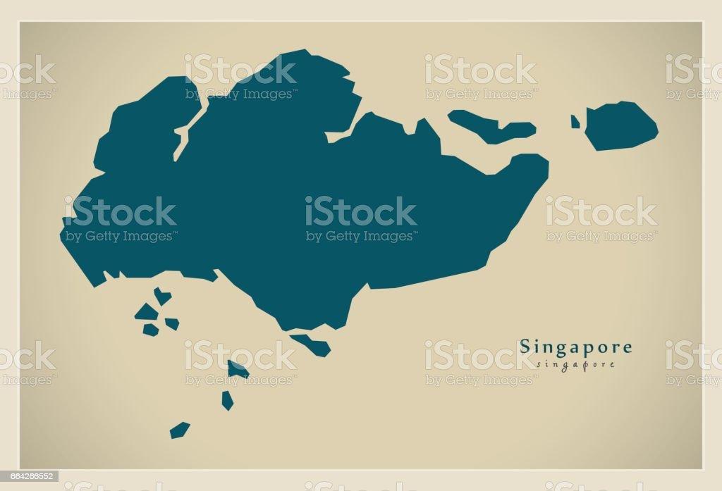 Modern Map - Singapore SG vector art illustration