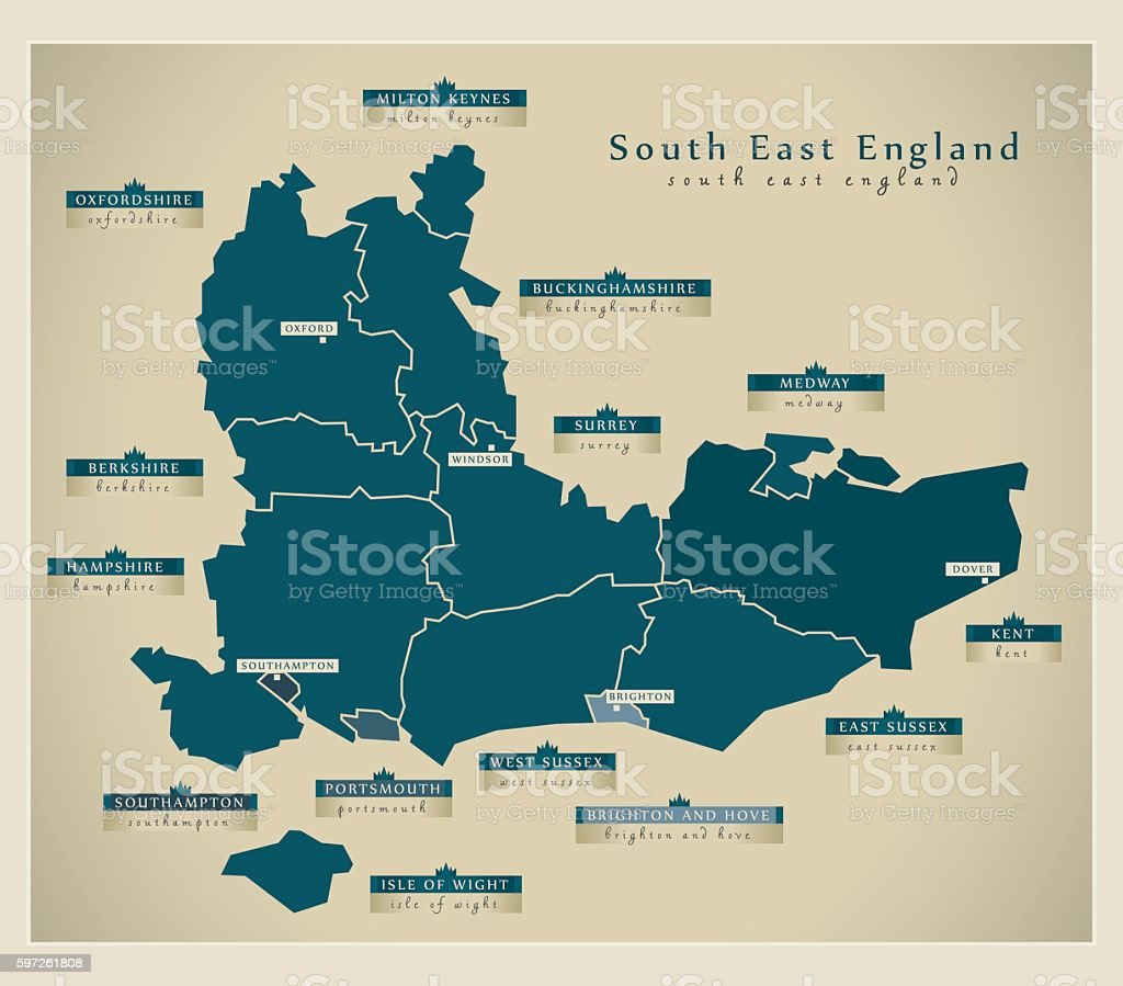 Modern Map - South East England UK vector art illustration