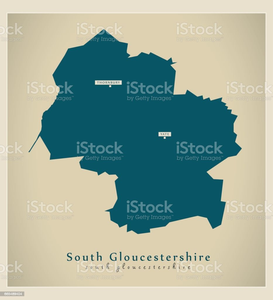 Map Of England Gloucestershire.Modern Map South Gloucestershire Unitary Authority England Uk Stock