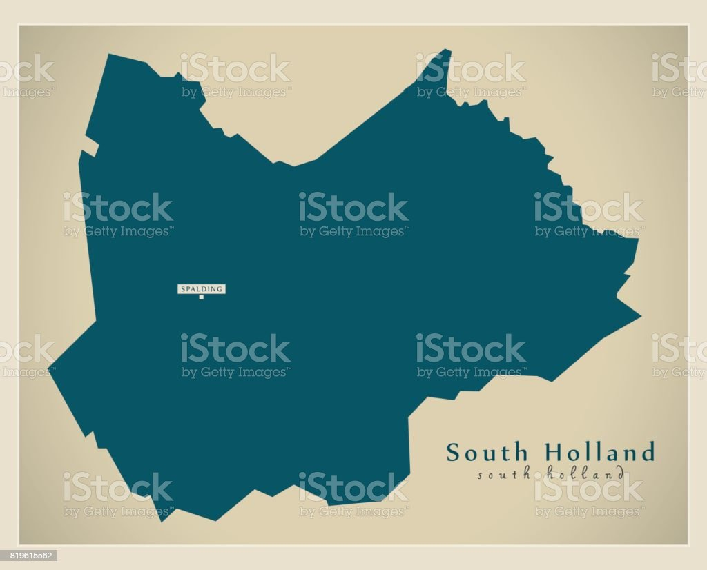Map Of England Lincolnshire.Modern Map South Holland District Of Lincolnshire England Uk