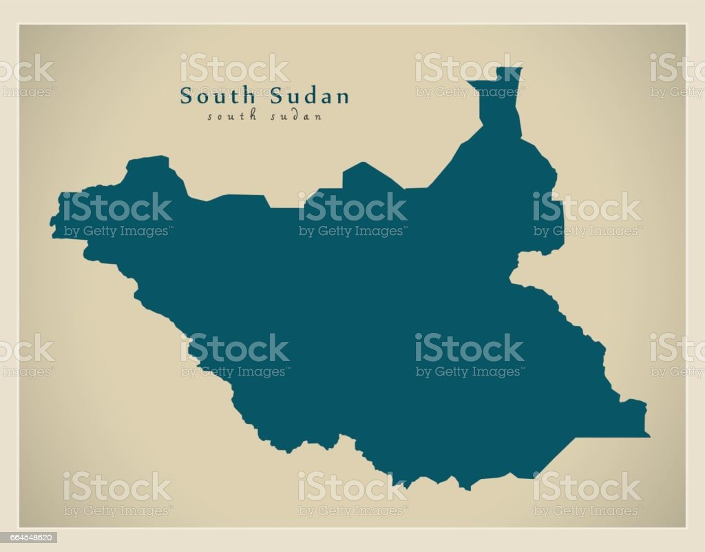 Modern Map - South Sudan SS royalty-free modern map south sudan ss stock vector art & more images of cartography