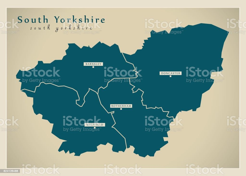 Map Of England Districts.Modern Map South Yorkshire Metropolitan County With Cities And