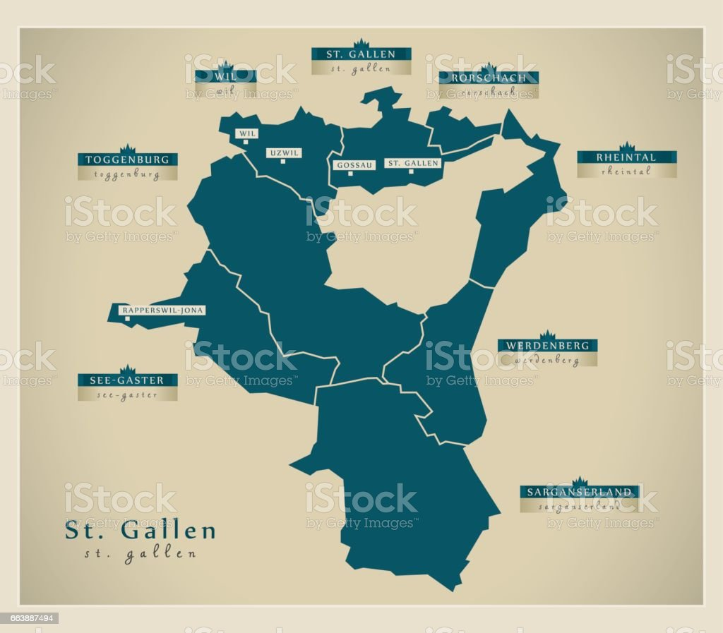 Modern Map St Gallen Ch Stock Vector Art More Images of