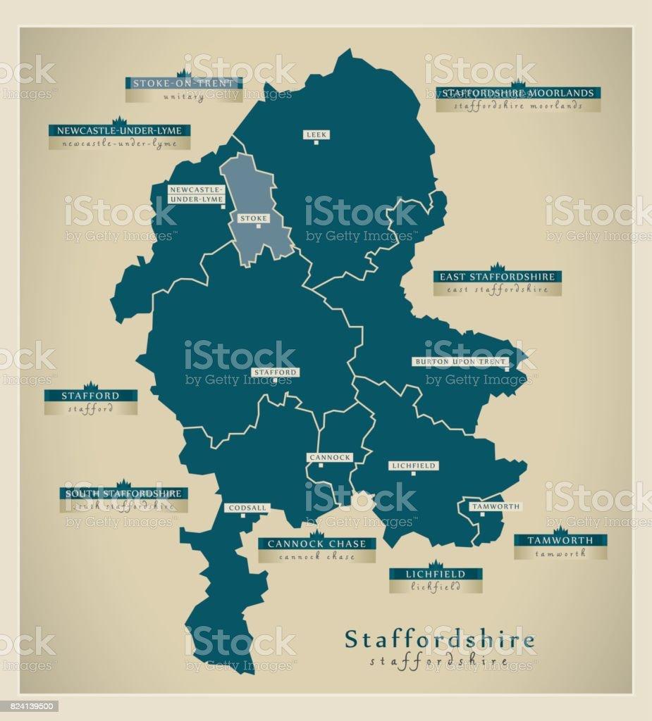 Karte Uk.Moderne Karte Grafschaft Staffordshire England Uk Illustration Stock Vektor Art Und Mehr Bilder Von Britische Kultur