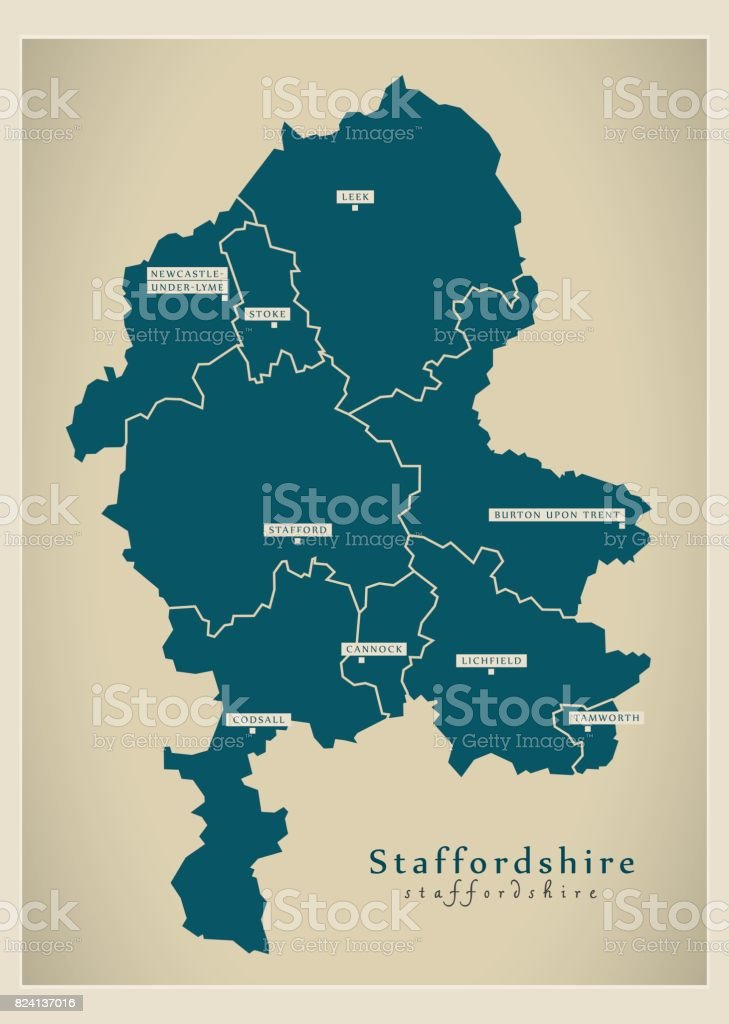 Modern Map - Staffordshire county with cities and districts England UK illustration vector art illustration