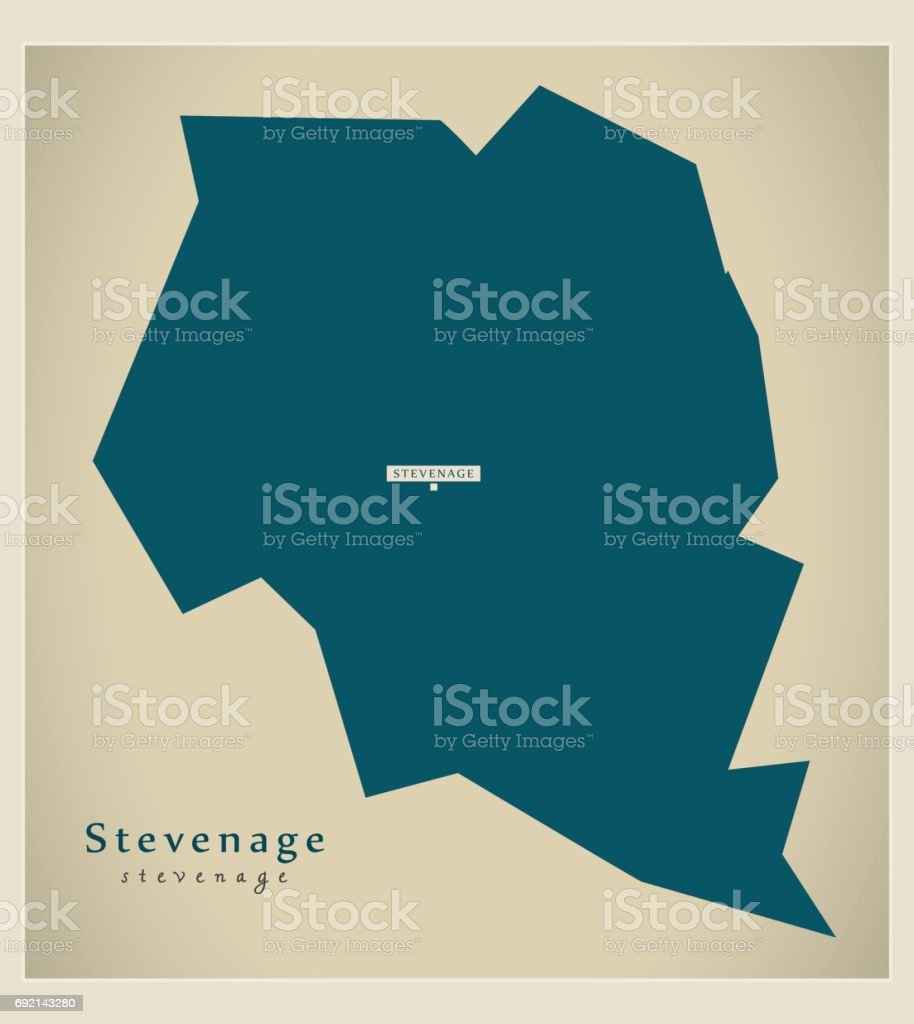 Modern Map - Stevenage district UK illustration vector art illustration
