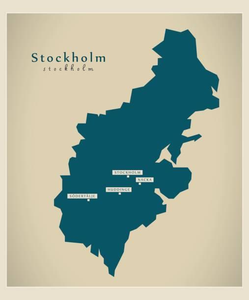 bildbanksillustrationer, clip art samt tecknat material och ikoner med moderna karta - stockholm se - stockholm