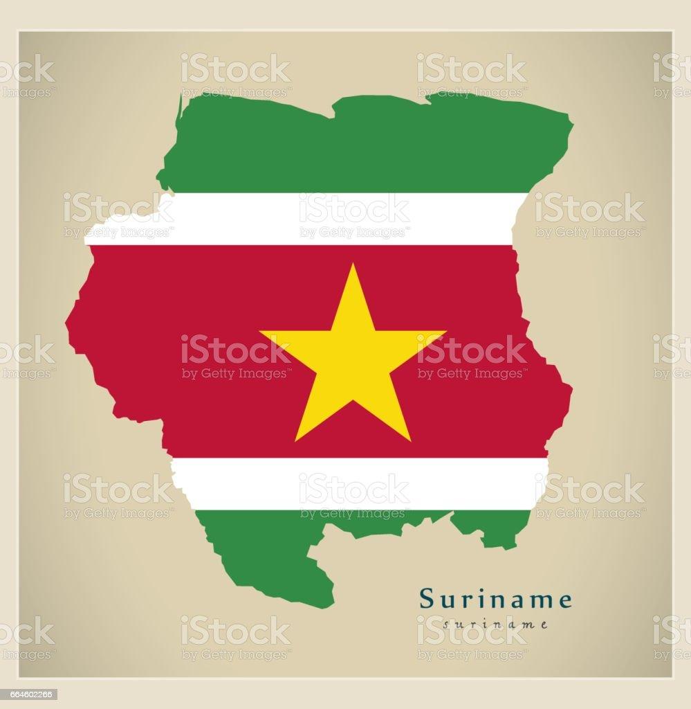 surinam mapa Ilustración de Mapa Moderno Sr De Color De Bandera De Surinam y  surinam mapa