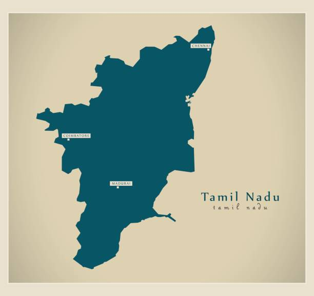 Royalty free tamil nadu clip art vector images illustrations istock modern map tamil nadu in vector art illustration gumiabroncs Image collections