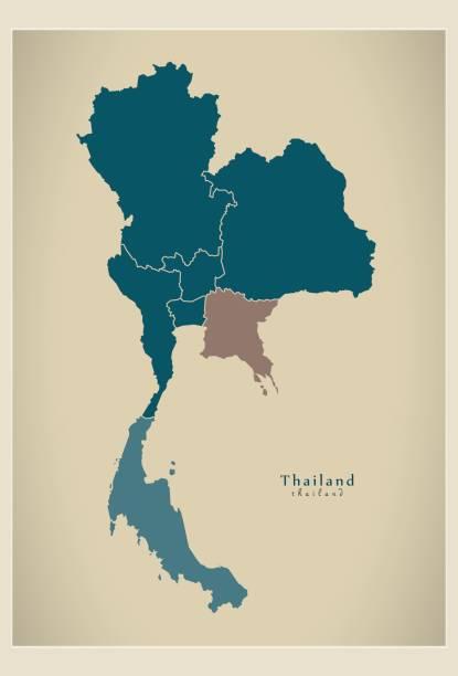 nowoczesna mapa - tajlandia z regionami th - tajlandia stock illustrations