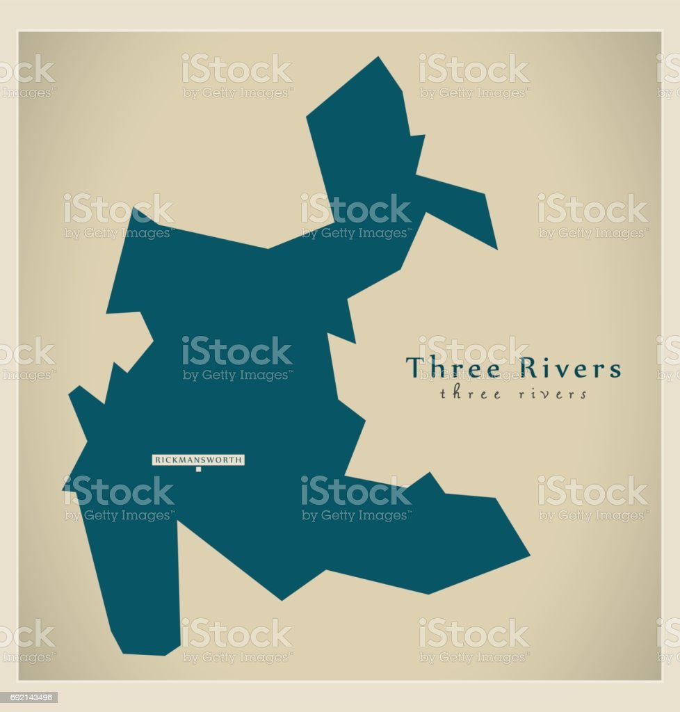 Modern Map - Three Rivers district UK illustration vector art illustration