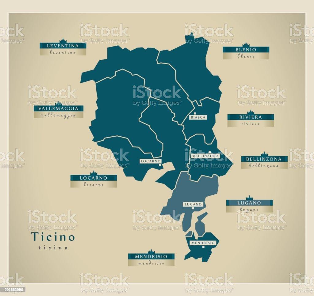 Modern Map Ticino Ch stock vector art 663883996 iStock