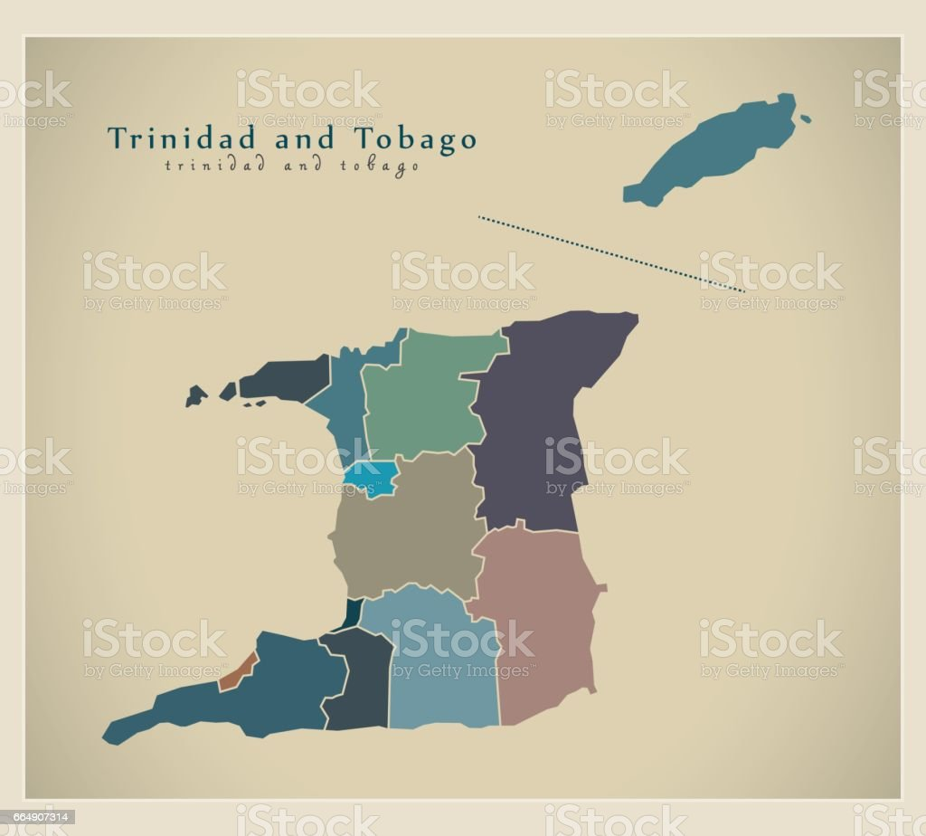 Modern Map - Trinidad and Tobago with states colored TT modern map trinidad and tobago with states colored tt - immagini vettoriali stock e altre immagini di carta geografica royalty-free