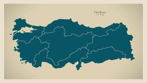 modern map - turkey with regions tr - turcja stock illustrations