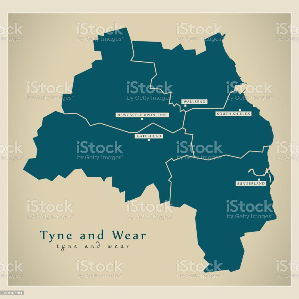 Map Of England Districts.Modern Map Tyne And Wear Metropolitan County With Cities And