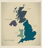 Modern Map - United Kingdom UK