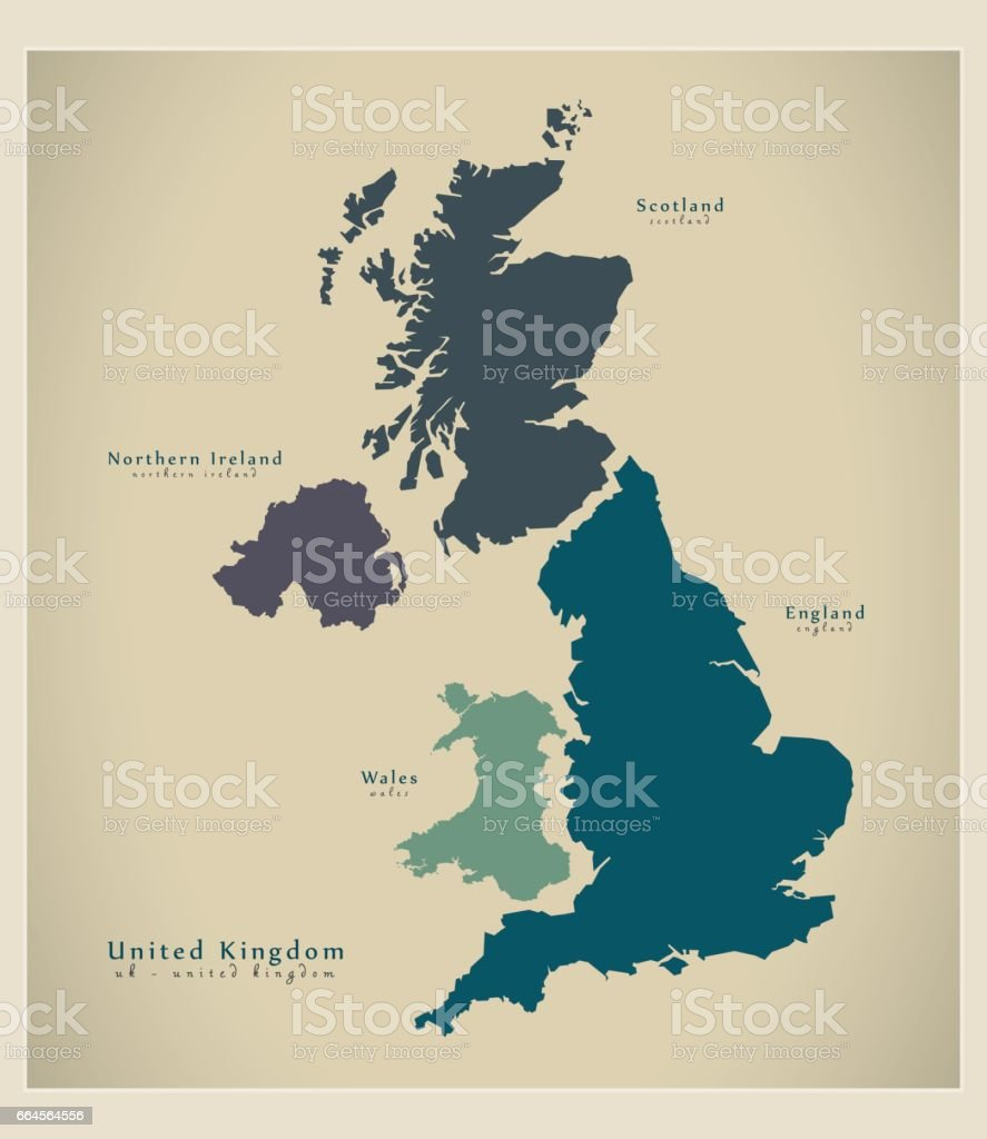 Modern Map - United Kingdom UK vector art illustration