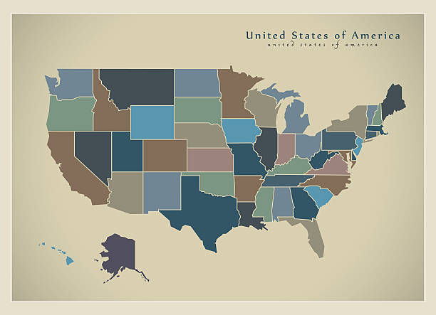 modern map - usa with coloured federal states illustration - 주 stock illustrations