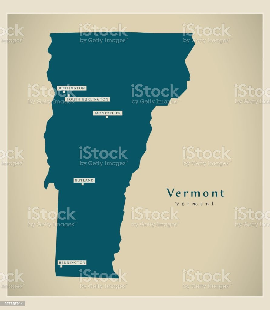 Modern Map Vermont Usa stock vector art 657367914 iStock
