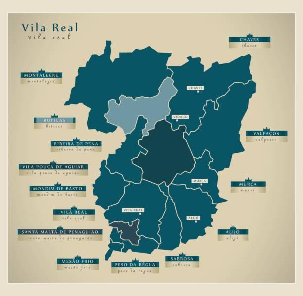 ilustrações de stock, clip art, desenhos animados e ícones de modern map - vila real pt - vila real