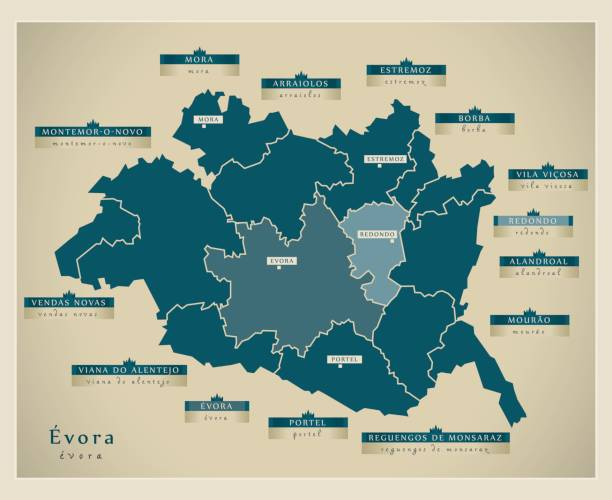 Modern Map - Évora PT - ilustração de arte vetorial