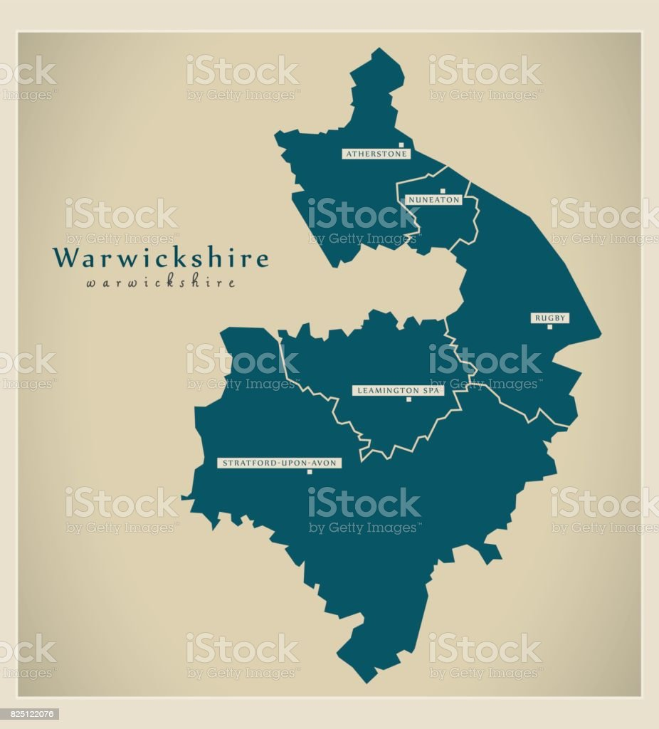Map Of England Counties And Cities.Modern Map Warwickshire County With Cities And Districts England Uk
