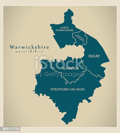 Stratford England Map.Modern Map Warwickshire County With District Captions England Uk