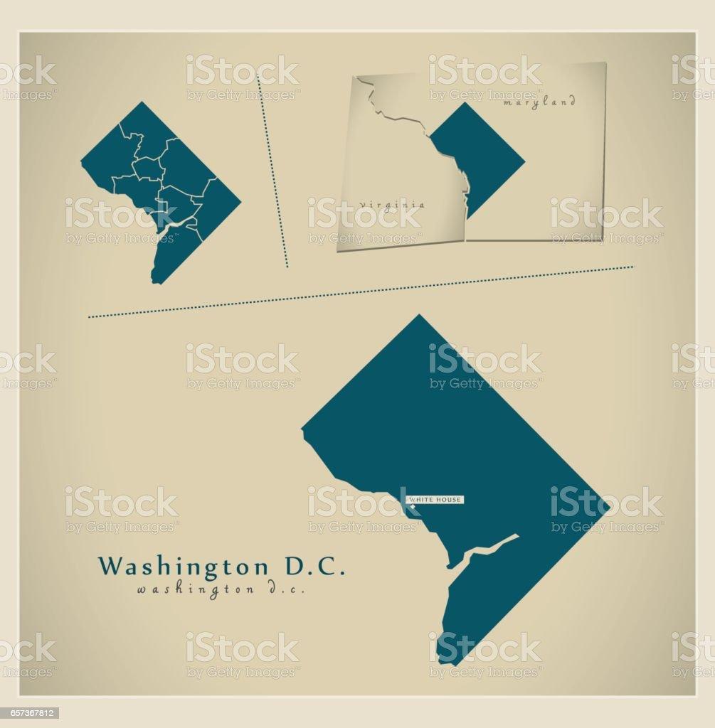 Modern Map Washington Dc Usa Stock Vector Art & More Images of ...