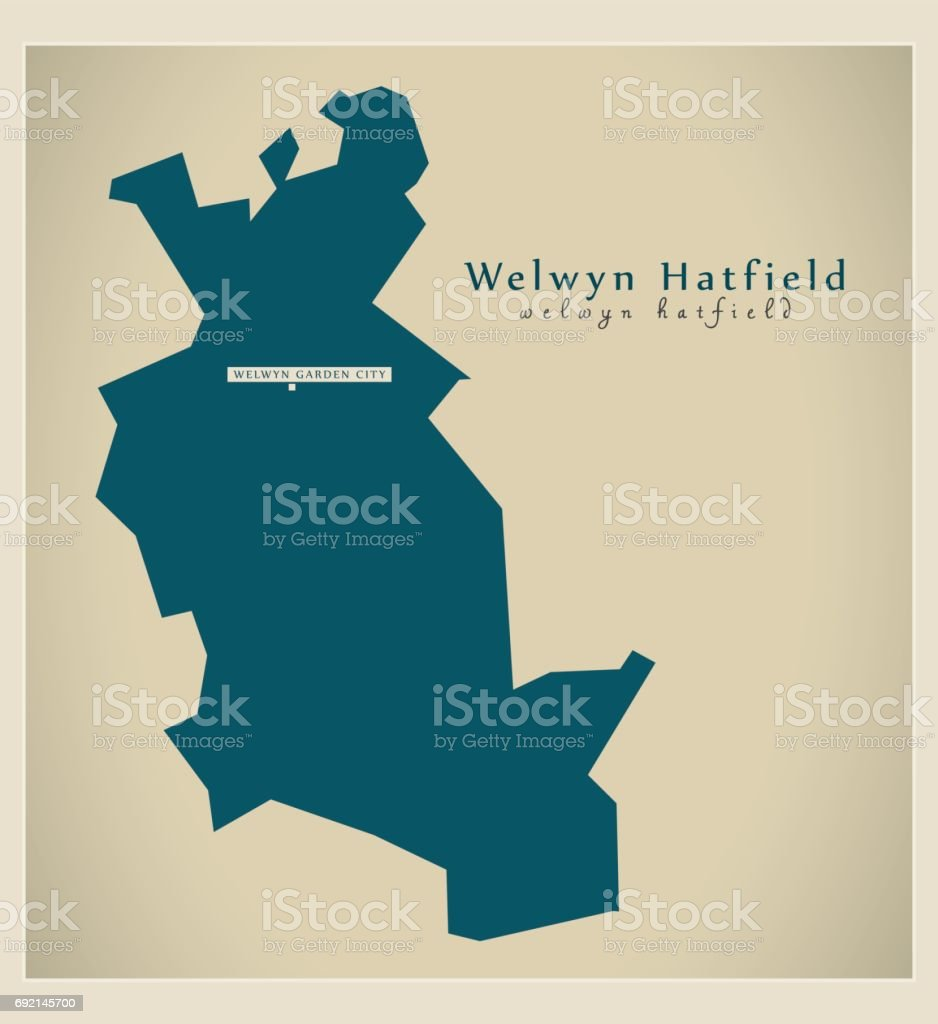 Modern Map - Welwyn Hatfield district UK illustration vector art illustration