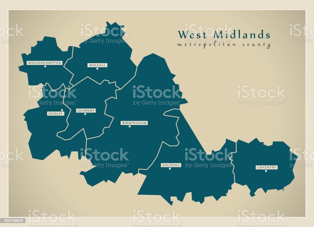 Modern Map - West Midlands metropolitan county with cities and districts England UK vector art illustration