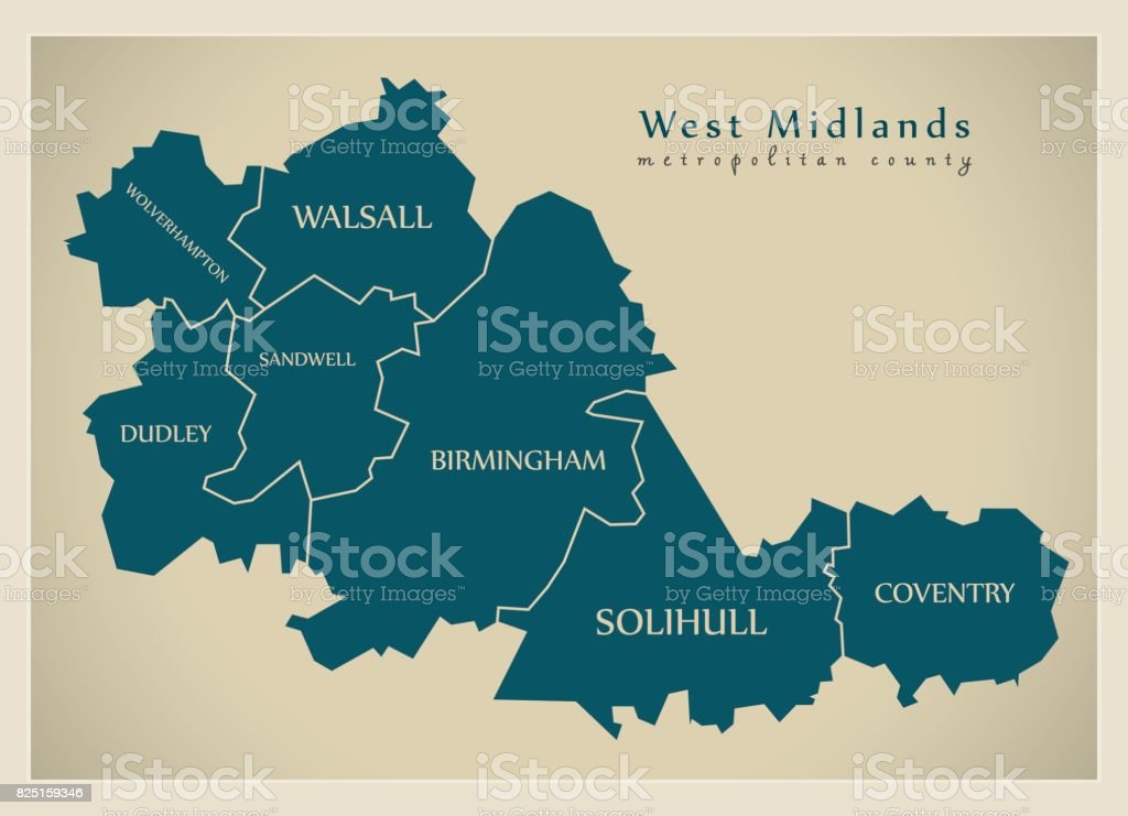 Modern Map - West Midlands metropolitan county with district captions England UK vector art illustration