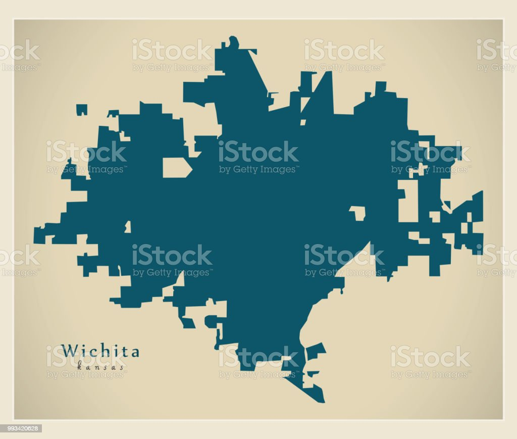 Modern Map Wichita Kansas City Of The Usa Stock Vector Art & More ...