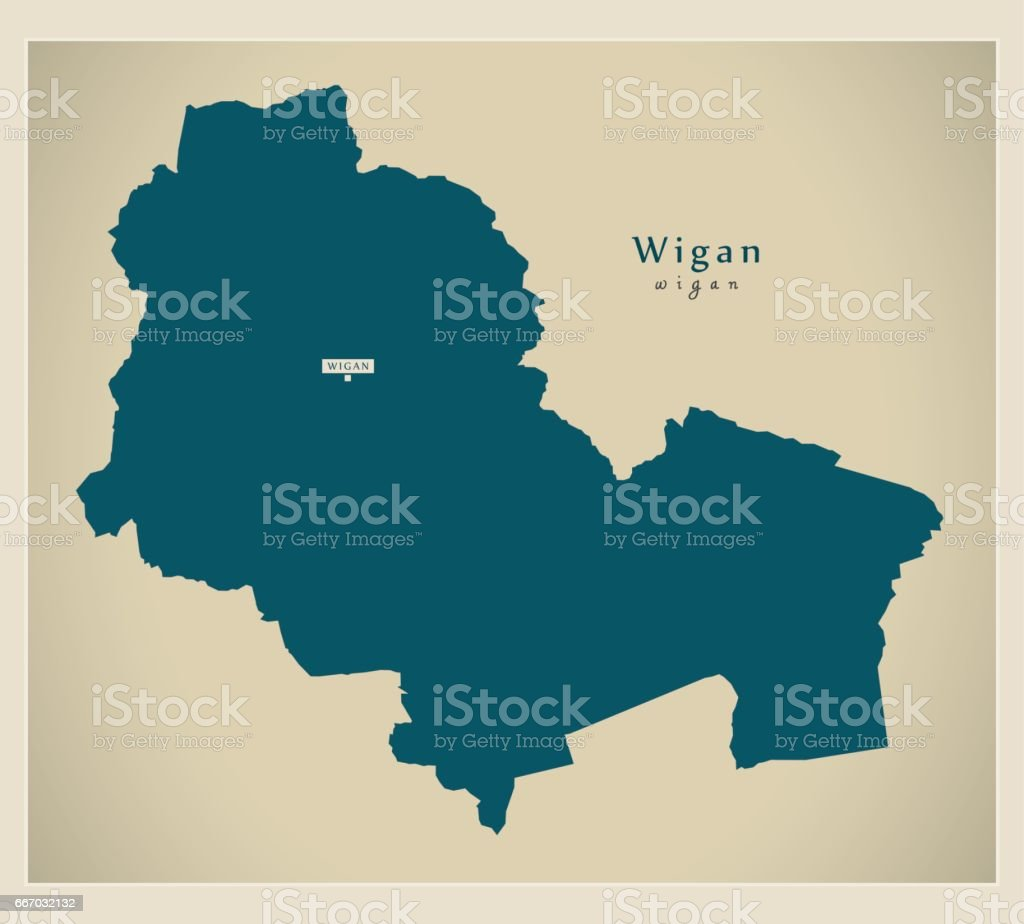 Moderne Karte Wigan Borough Greater Manchester Uk England Stock ...
