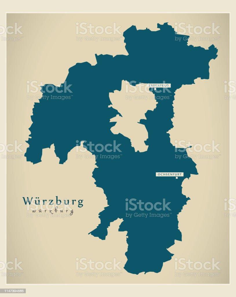 Landkreis Würzburg Karte.Moderne Kartelandkreis Würzburg Stock Vektor Art Und Mehr Bilder Von