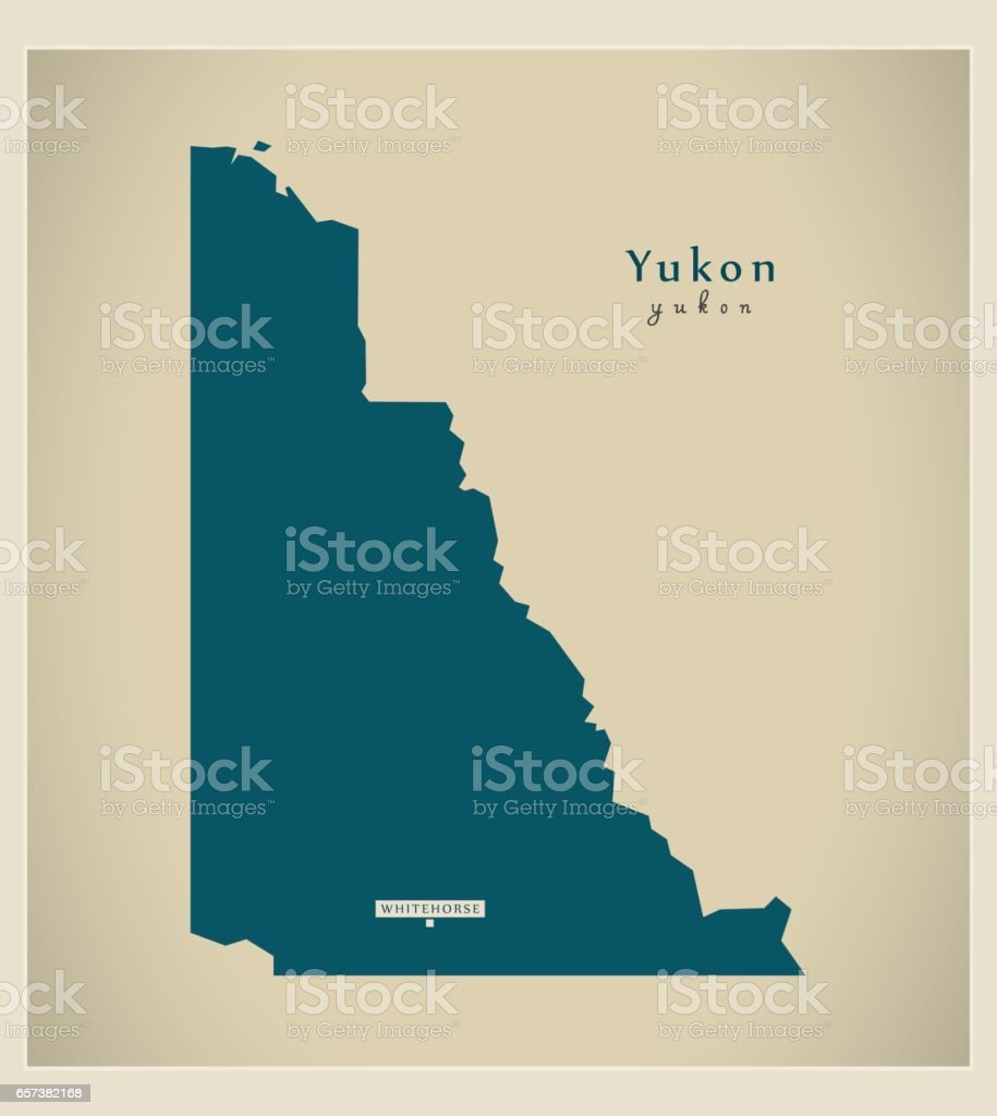 Modern Map - Yukon CA vector art illustration