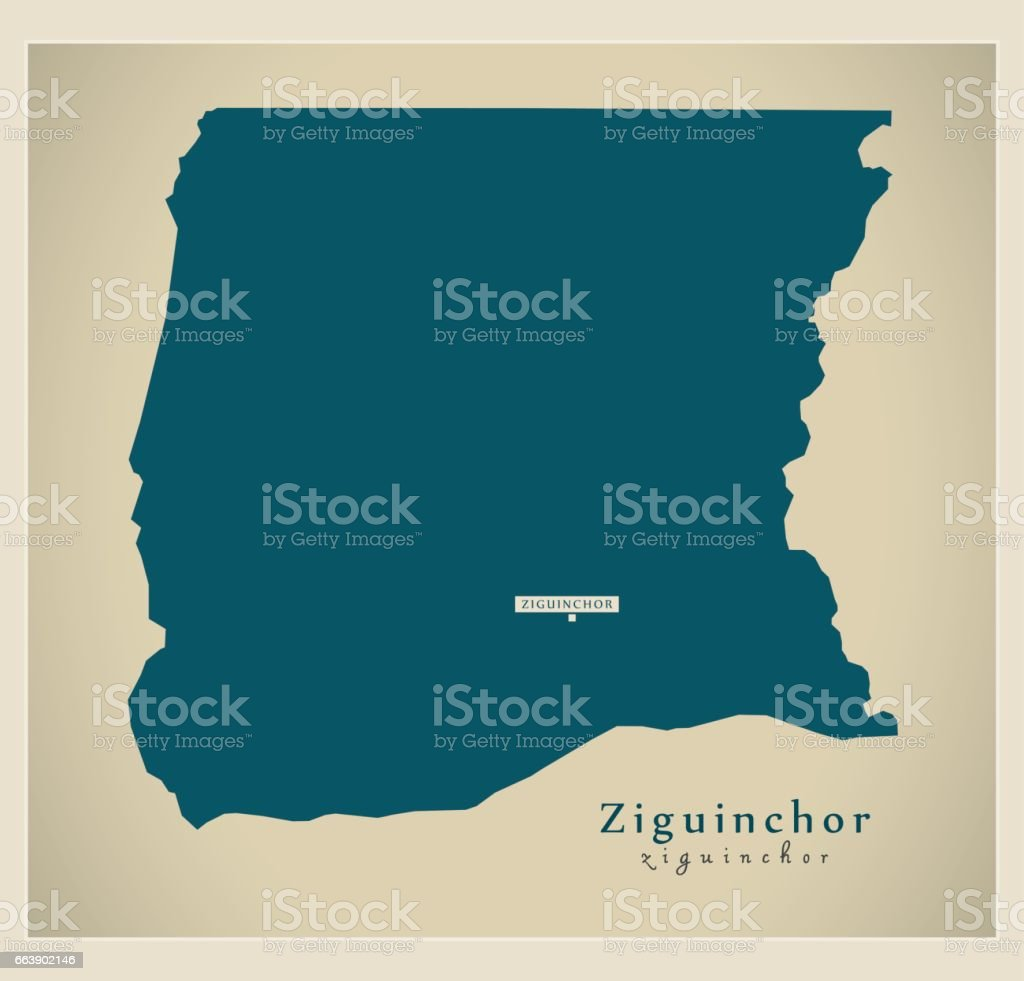 Modern Map Ziguinchor Sn Stock Vector Art More Images of
