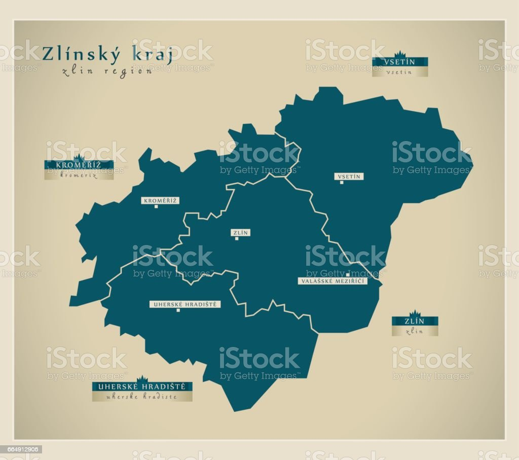 Modern Map - Zlinsky kraj CZ modern map zlinsky kraj cz - immagini vettoriali stock e altre immagini di carta geografica royalty-free