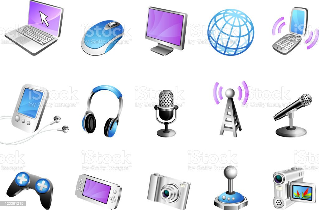 Modern media 3D royalty free vector icon set vector art illustration