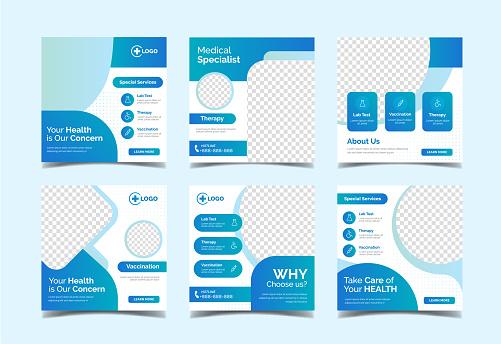 Modern medical banner for social media post template