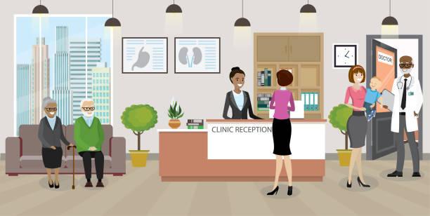 moderne medizinische klinik rezeption innenausstattung mit möbeln - rezeptionseingang stock-grafiken, -clipart, -cartoons und -symbole