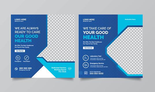 Modern Medical health square promotional banner for social media post template. Template, Social Media, Dental Health, healthcare,