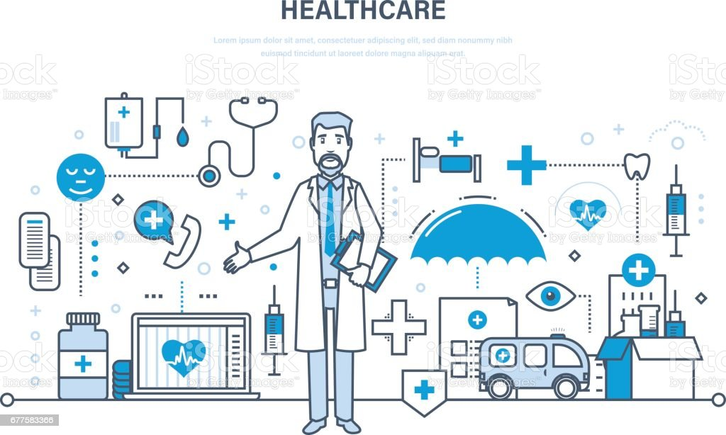 Modern medicine, health care system, doctor and special tools, equipment royalty-free modern medicine health care system doctor and special tools equipment stock vector art & more images of adult