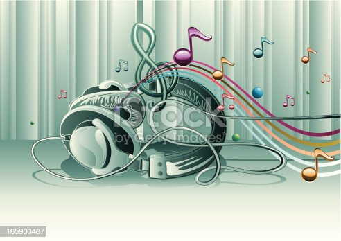 Headphones & colorful notes - music design, vector artwork